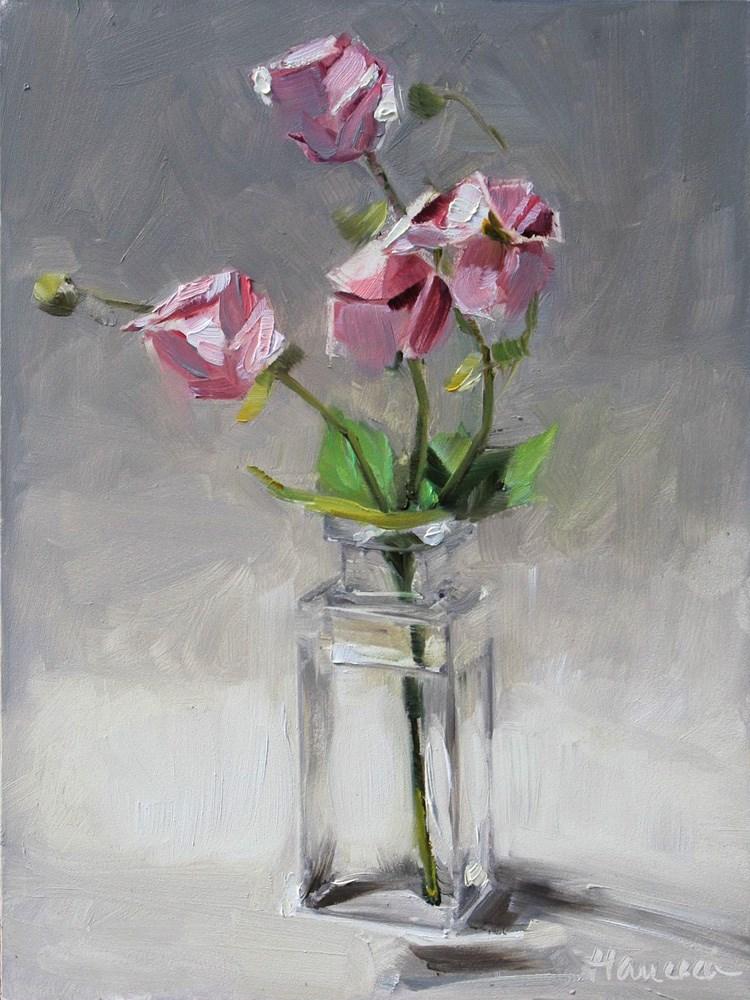 """Pink Anemones Just Opening"" original fine art by Gretchen Hancock"