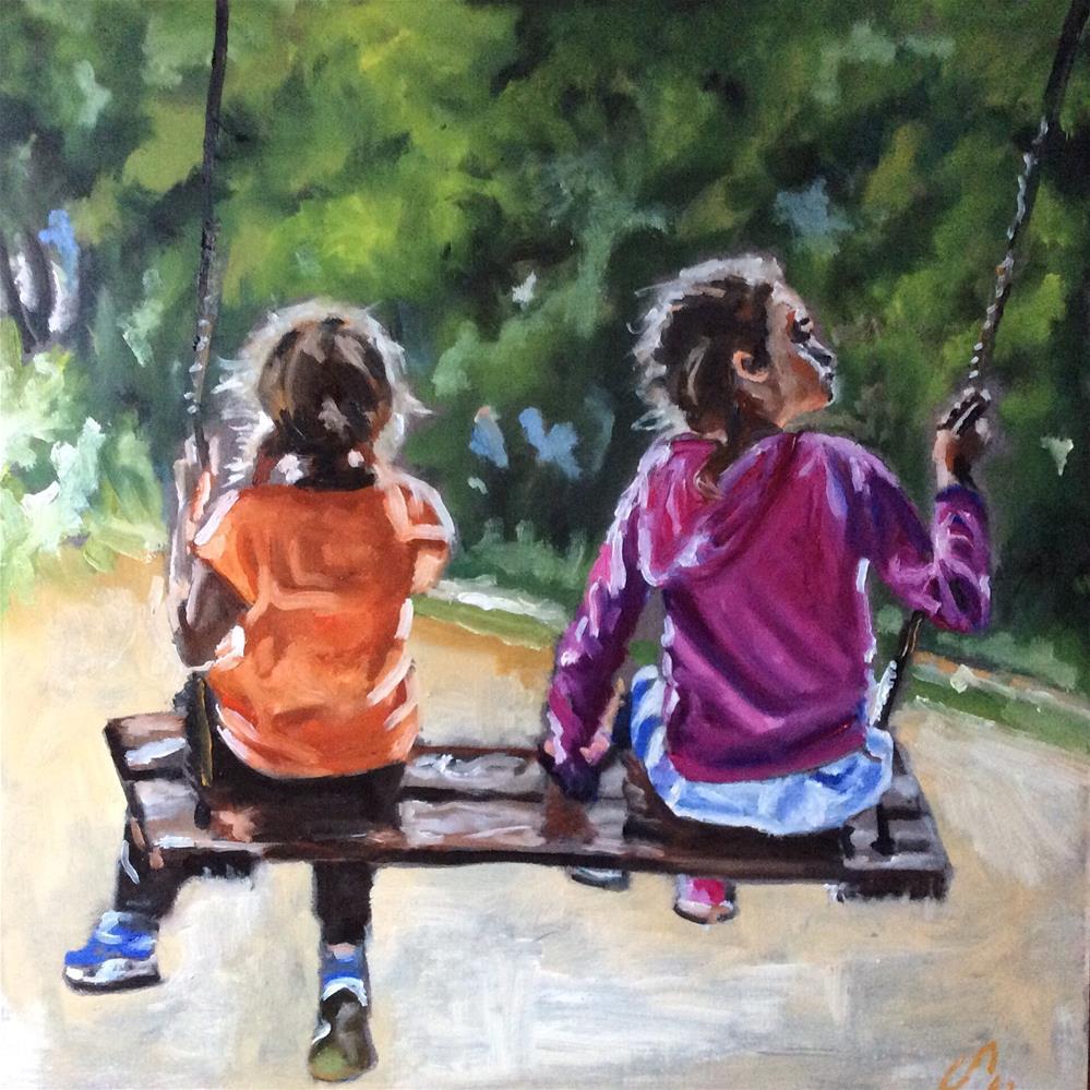"""Swinging girls"" original fine art by Sonja Neumann"