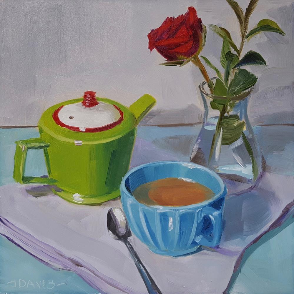 """A Rosy Teatime"" original fine art by Jacqueline Davis"