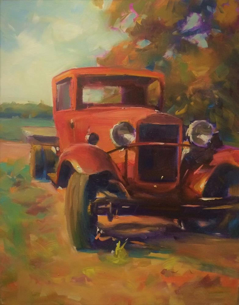 """TRUCKING DOWN"" original fine art by Doug Carter"