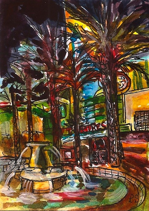 """""""ACEO Night Lights Fountain Theatre Cityscape Painting Illustration Penny StewAr"""" original fine art by Penny Lee StewArt"""