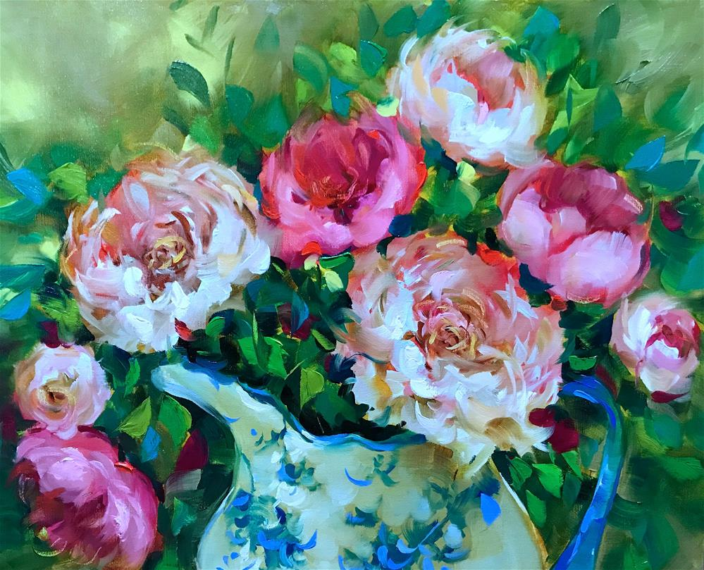 """Monthly Classes Are Blooming ~ Heart Song Peonies"" original fine art by Nancy Medina"