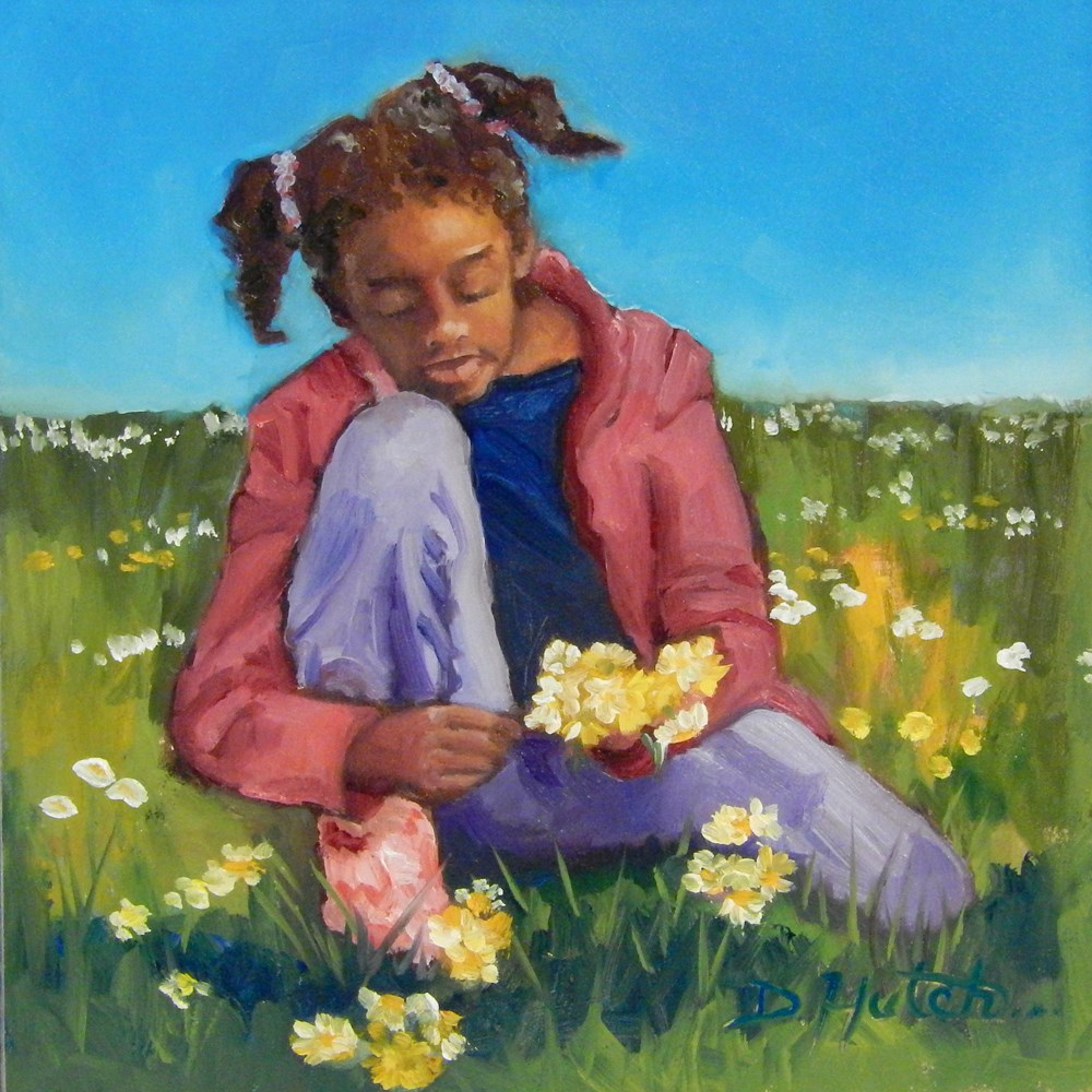 """Picking Daisies"" original fine art by Diane Hutchinson"