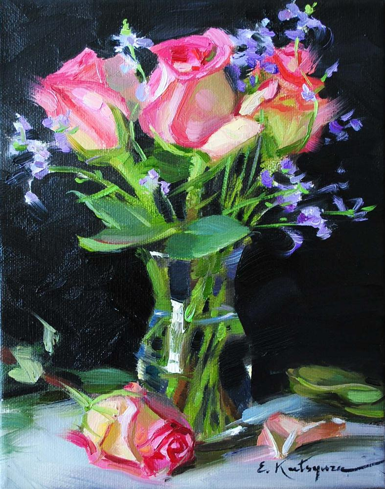 """Four Pink Roses"" original fine art by Elena Katsyura"