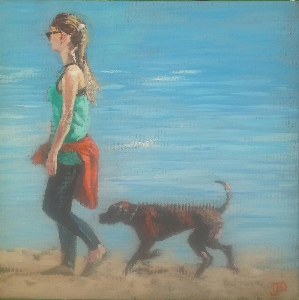 """Beach Walk"" original fine art by Leanne Owen"