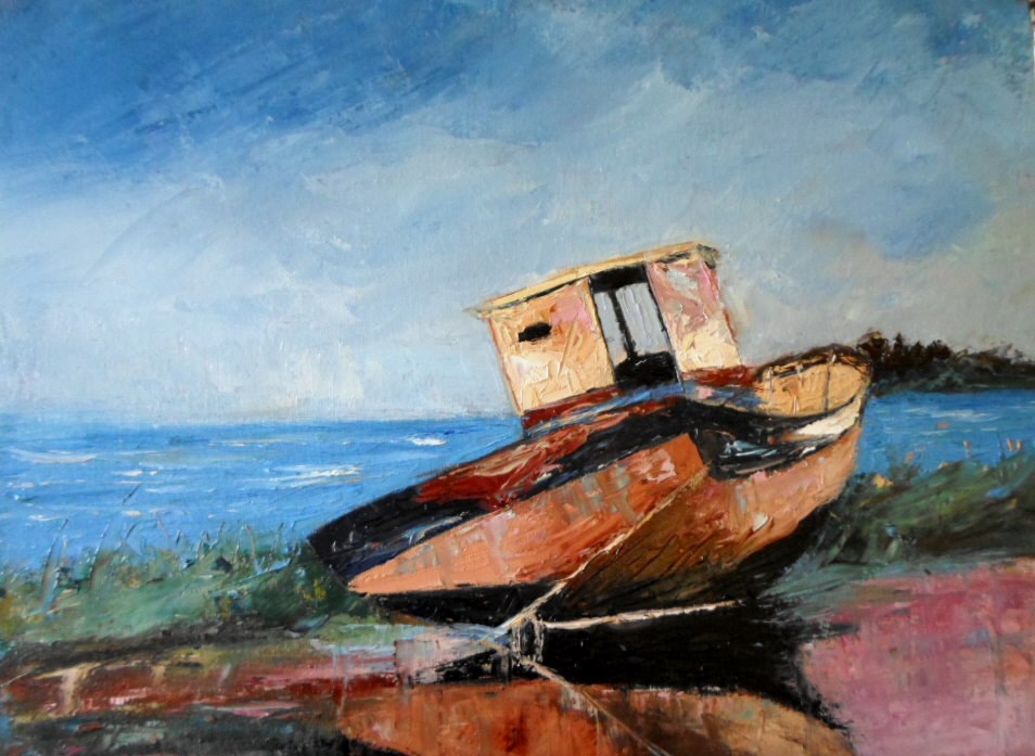 """12 x 14 inch oil Abandoned Boat"" original fine art by Linda Yurgensen"