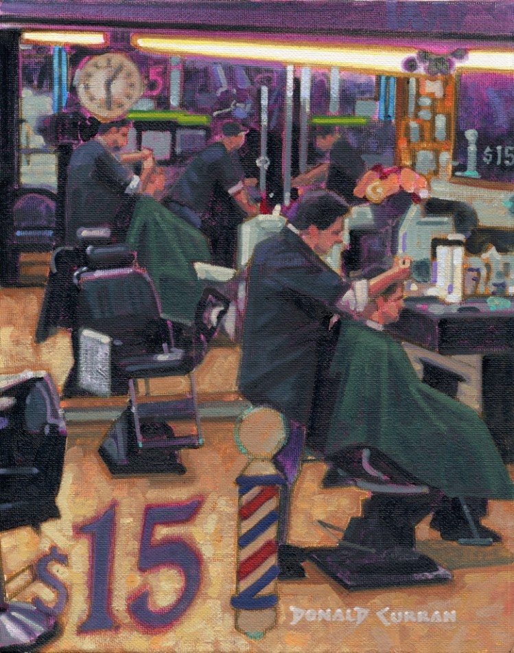 """Barber Shop Reflections"" original fine art by Donald Curran"