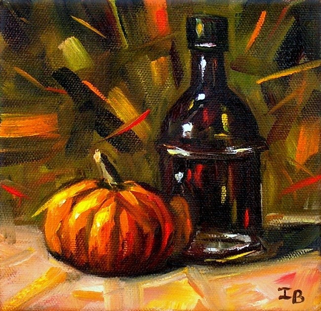 """Still Life with Black Bottle"" original fine art by Irina Beskina"