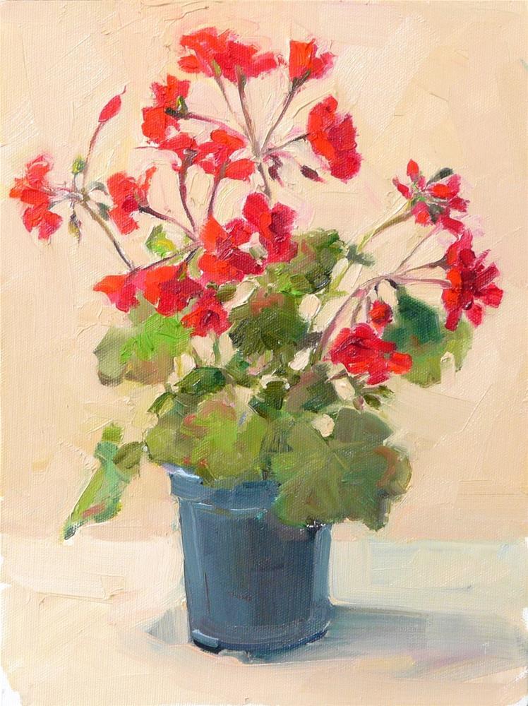 """Geranium in Full Bloom,still life,oil on canvas,12x9,price$300"" original fine art by Joy Olney"