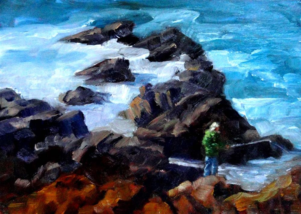 """Fishing For Crab Bait"" original fine art by Cietha Wilson"