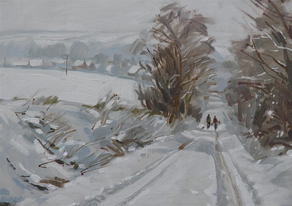 """North Heath Lane in snow"" original fine art by Haidee-Jo Summers"