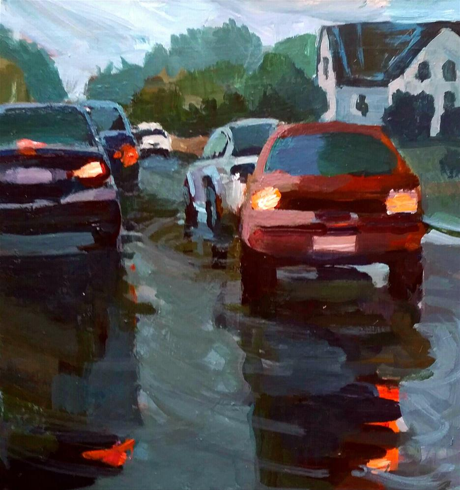 """Rainy Street near Elm and Union "" original fine art by Liz Maynes"