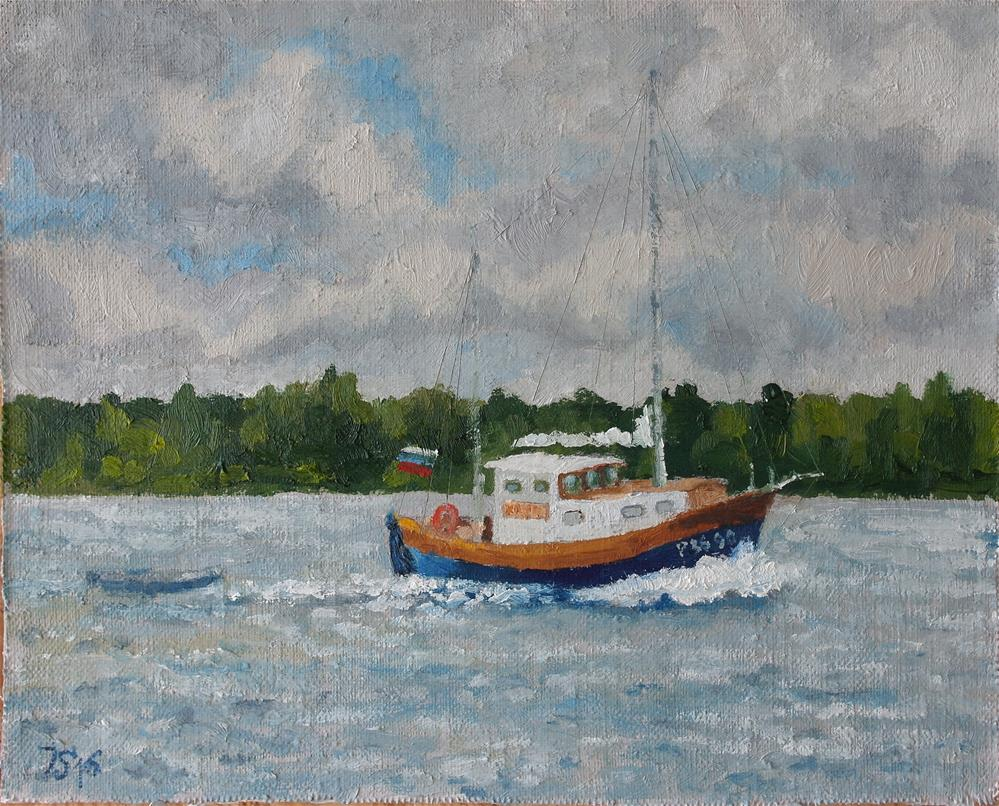 """Boat on Ladoga lake"" original fine art by Yuriy Semyonov"