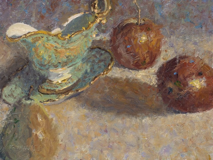 """Antique Gravy Boat with Fruit"" original fine art by Daniel Fishback"