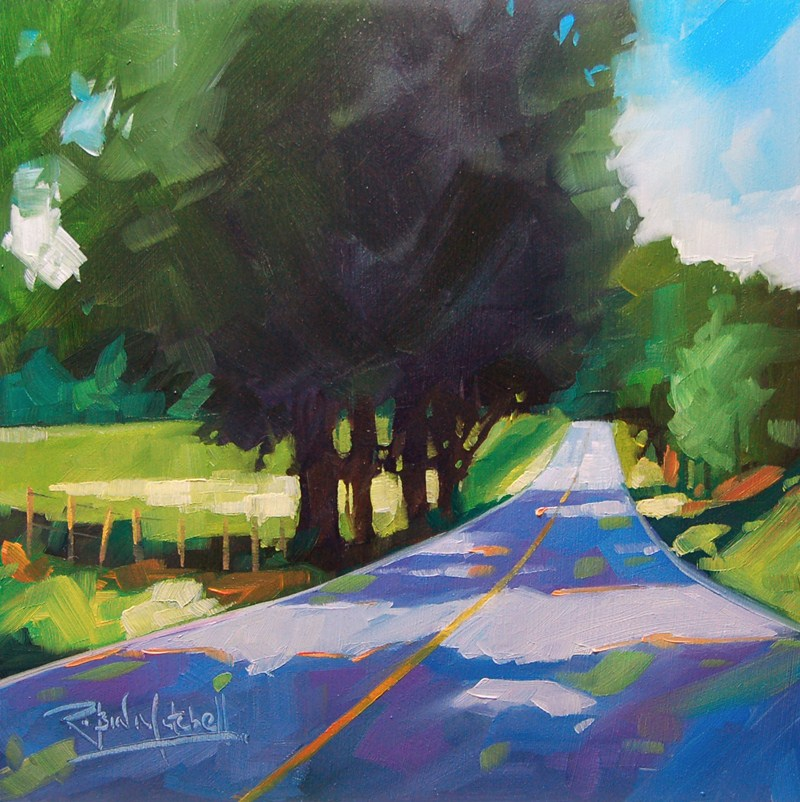 """No 510 Road from Paris No2"" original fine art by Robin J Mitchell"