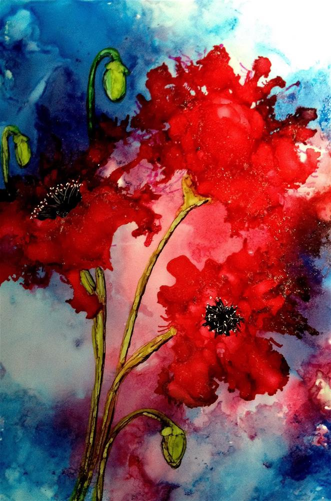 """Alcohol Ink Painting. Poppies"" original fine art by Korinne Carpino"