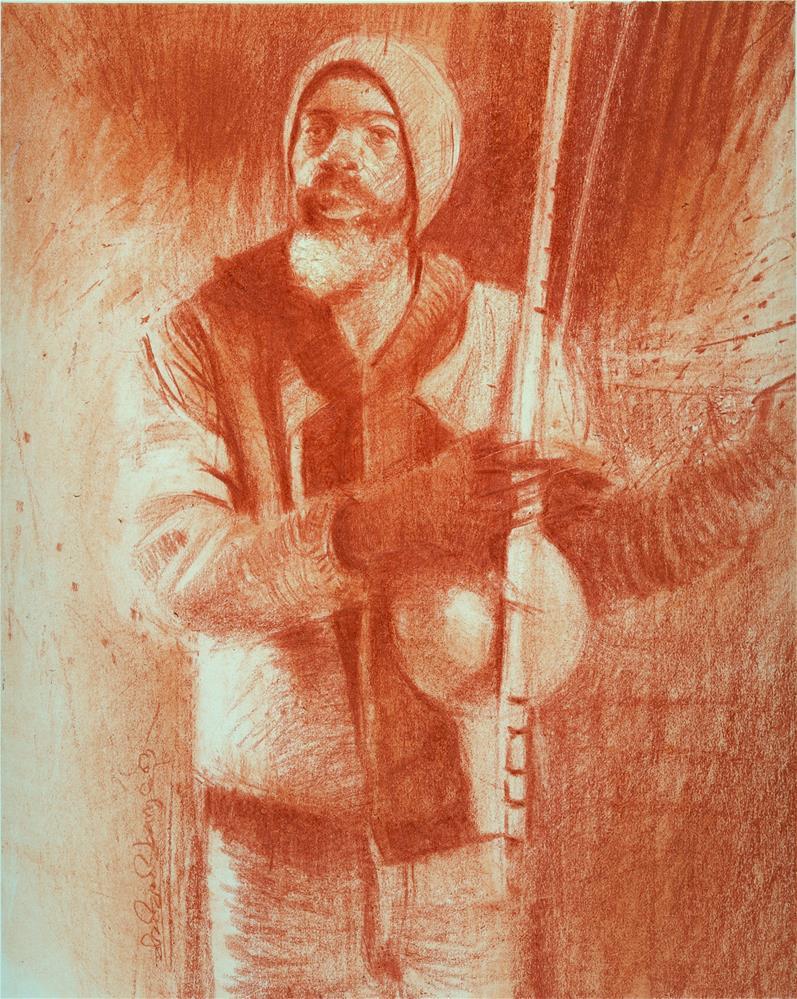 """The Berimbau Player"" original fine art by Adebanji Alade"