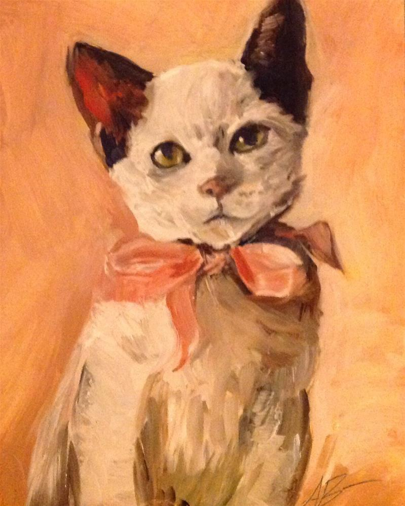 """Kitten wearing pink ribbon"" original fine art by Annette Balesteri"