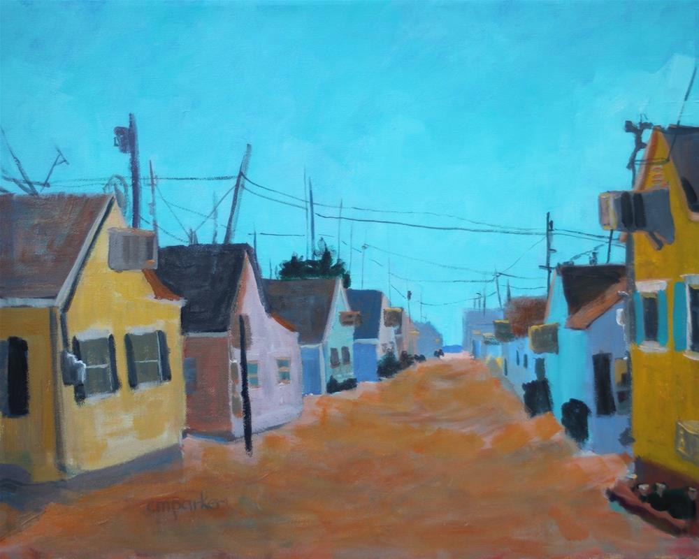 """Beach Cottages"" original fine art by Christine Parker"