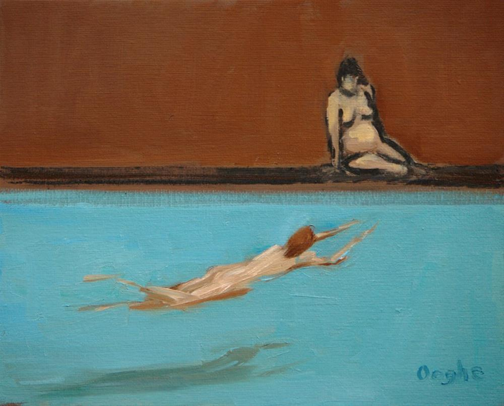 """Watcher by the Pool"" original fine art by Angela Ooghe"