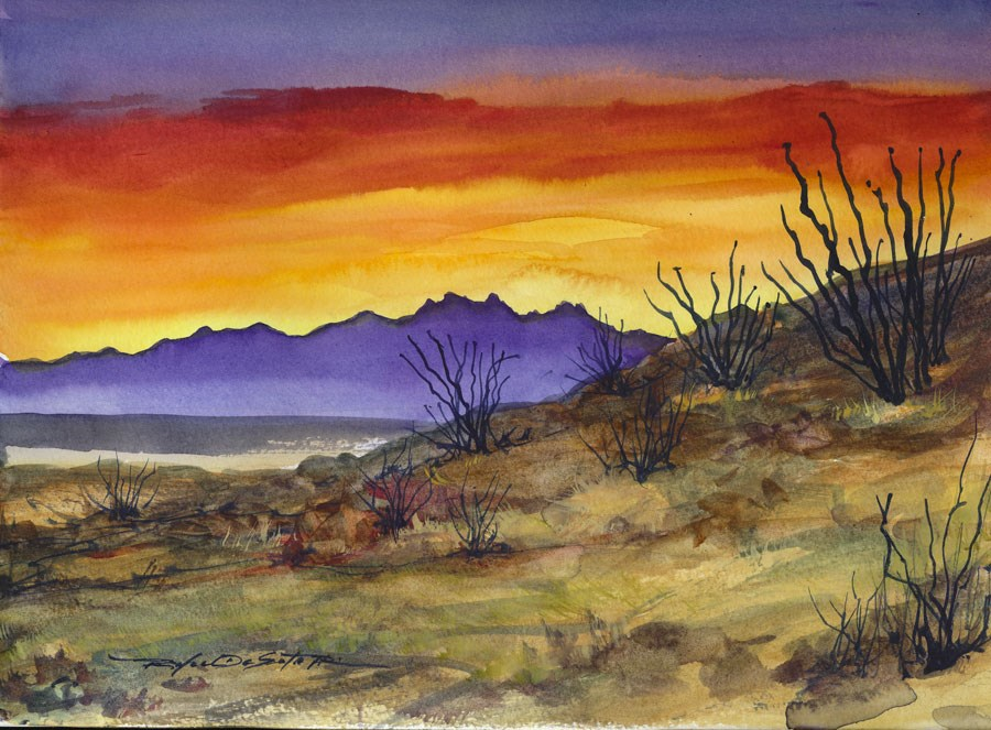 """Ocotillo  Sunset"" original fine art by Rafael DeSoto Jr."