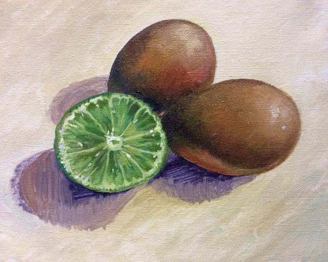 """Brown eggs and lime"" original fine art by Hilary J. England"