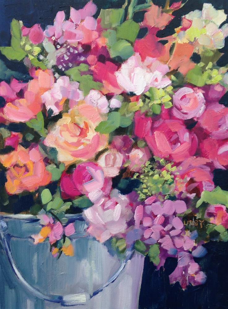 """Bucket Blooms"" original fine art by Libby Anderson"