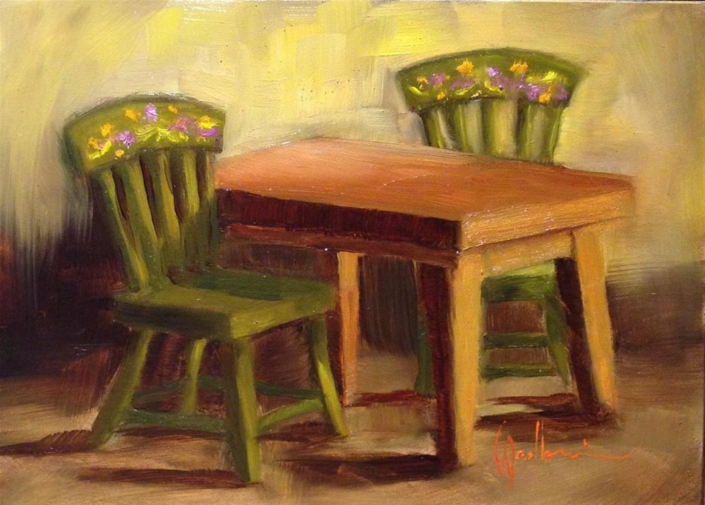 """Doll Farmhouse Table and Chairs"" original fine art by Dorothy Woolbright"