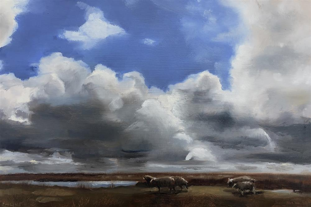 """Sheep and clouds"" original fine art by Philine van der Vegte"