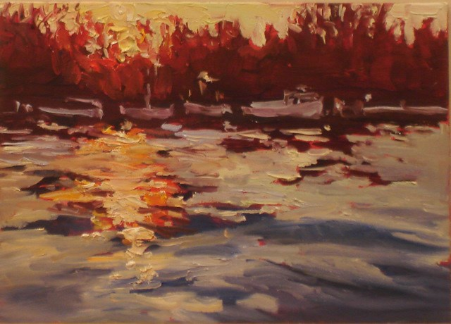 """Small Works: Sun's Last Blaze"" original fine art by Claudia L Brookes"
