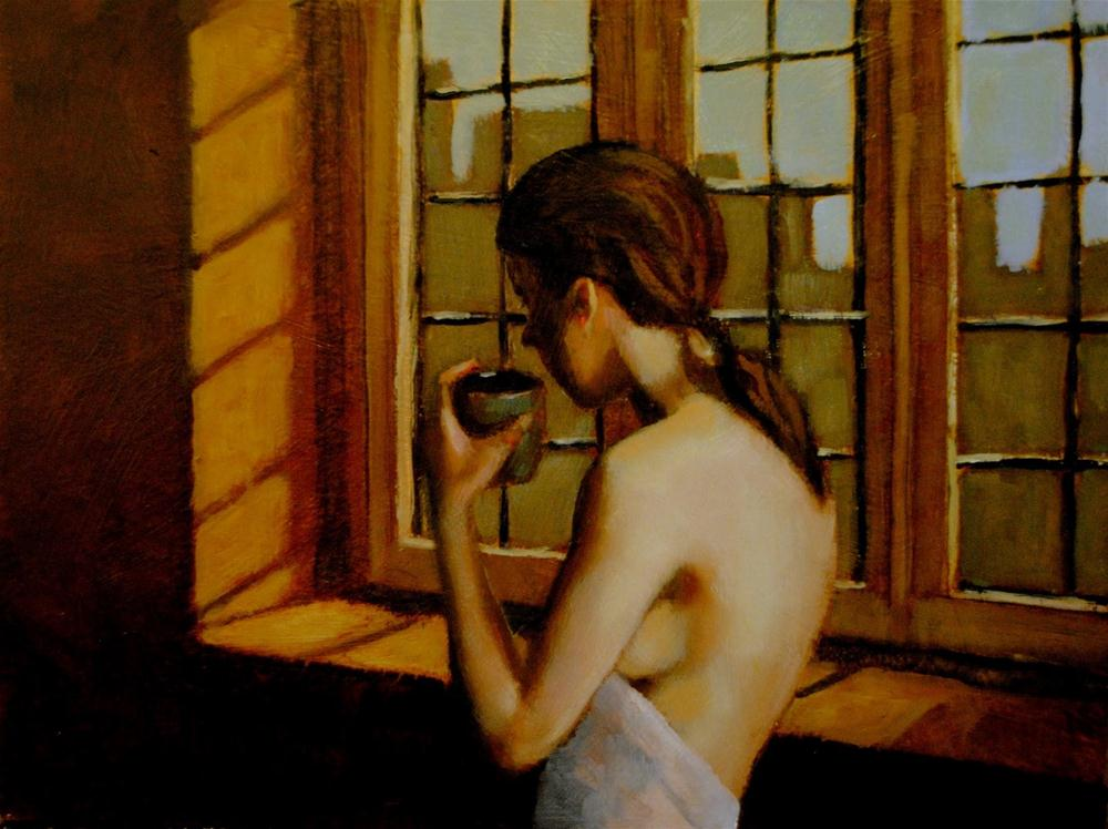 """Saturday 9x12 oil on board in 2 darkwood frame"" original fine art by David Larson Evans"