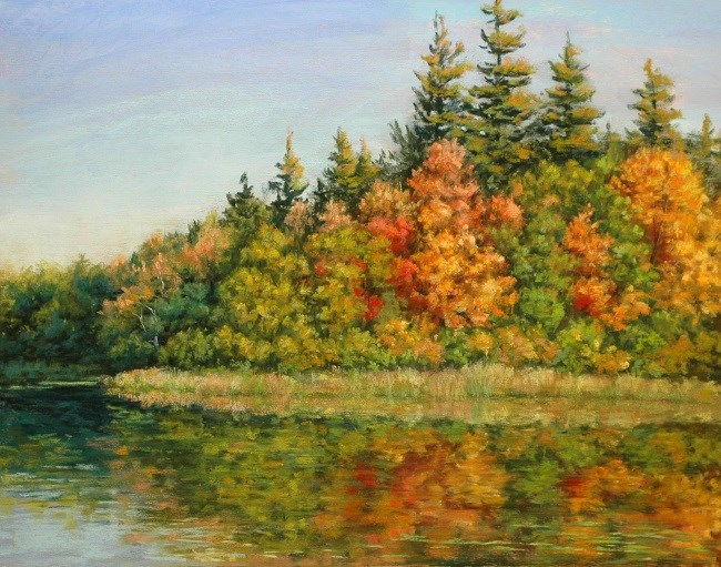 """Autumn Lake Reflections"" original fine art by Susan Klabak"