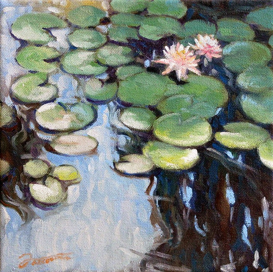 """Water Lily Pond Reflections-2"" original fine art by Joanna Bingham"