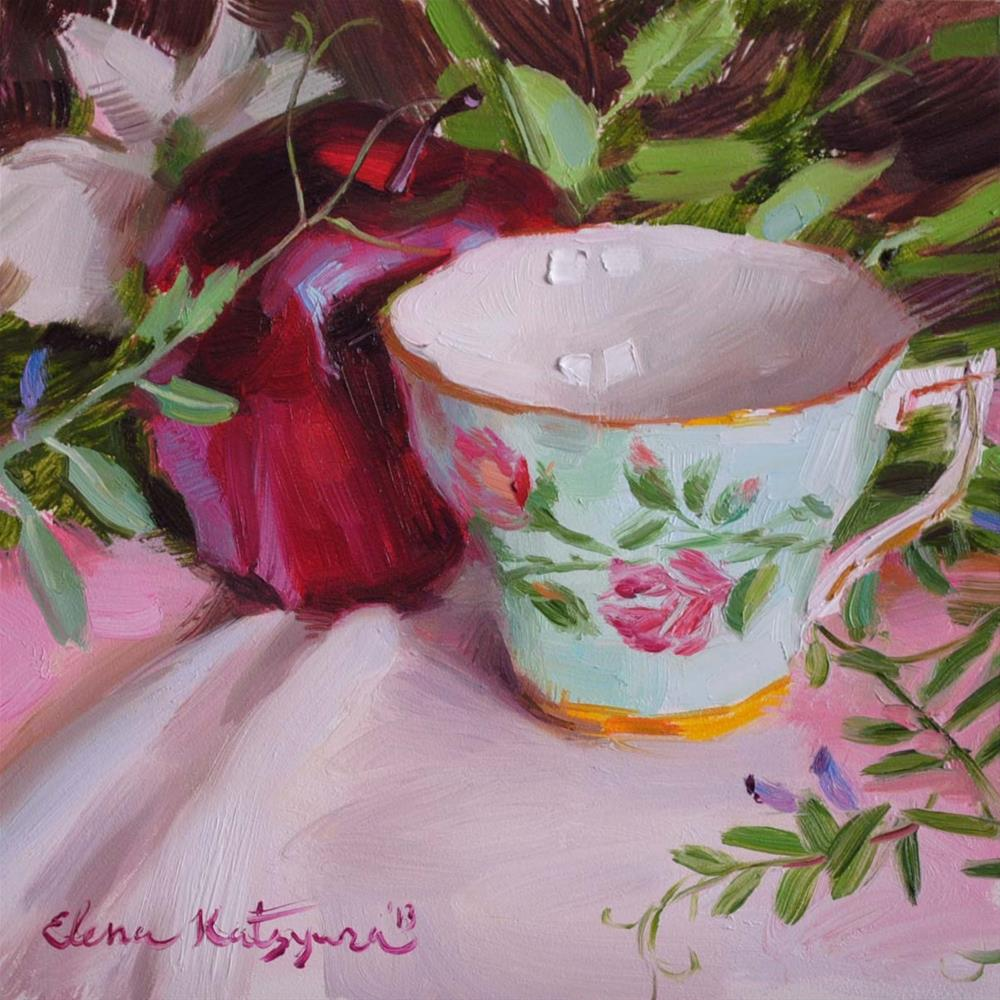 """Spring Teacup and Apple"" original fine art by Elena Katsyura"