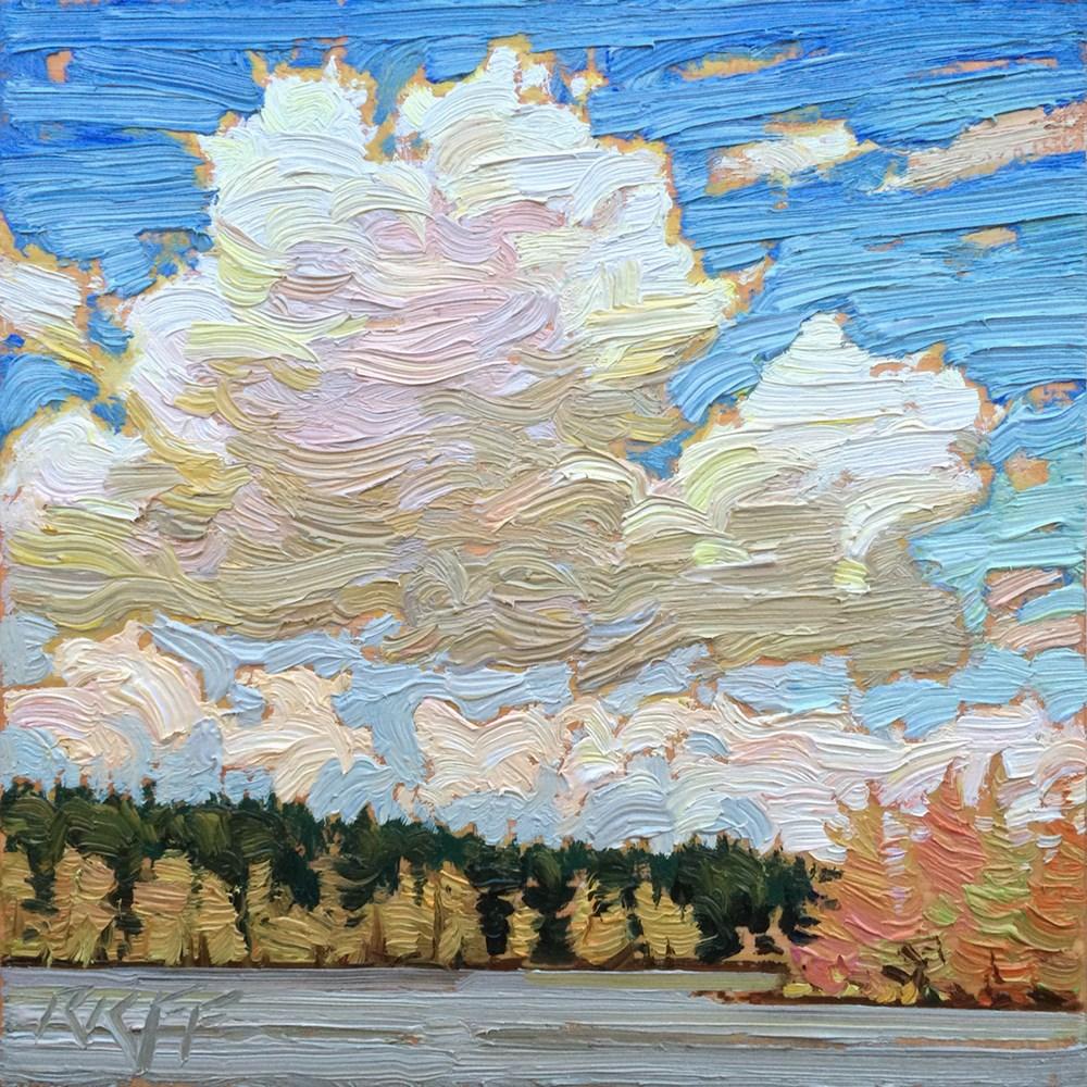 """Lake And Sky: 6x6 oil on pane"" original fine art by Ken Faulks"