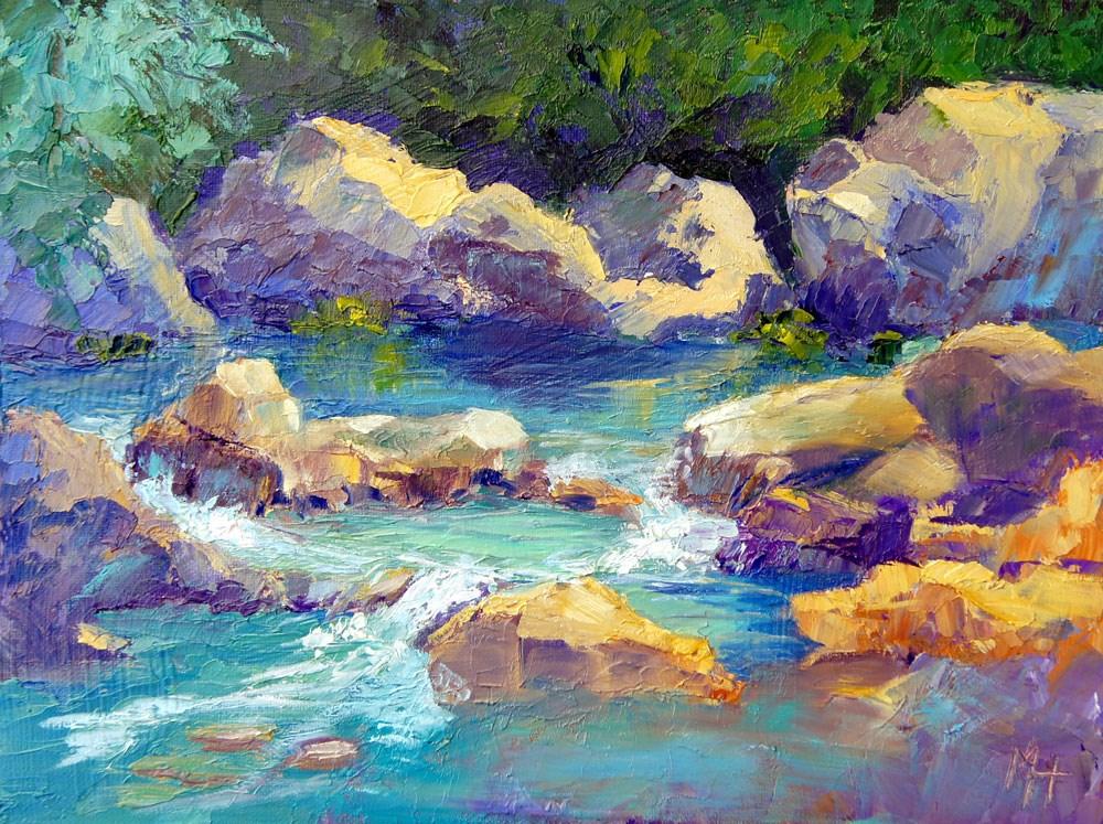 """River Stones 2"" original fine art by Marion Hedger"