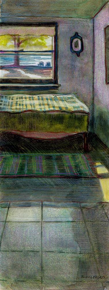 """Mixed Media (watercolor & colored pencil): Cabin Getaway"" original fine art by Belinda Del Pesco"