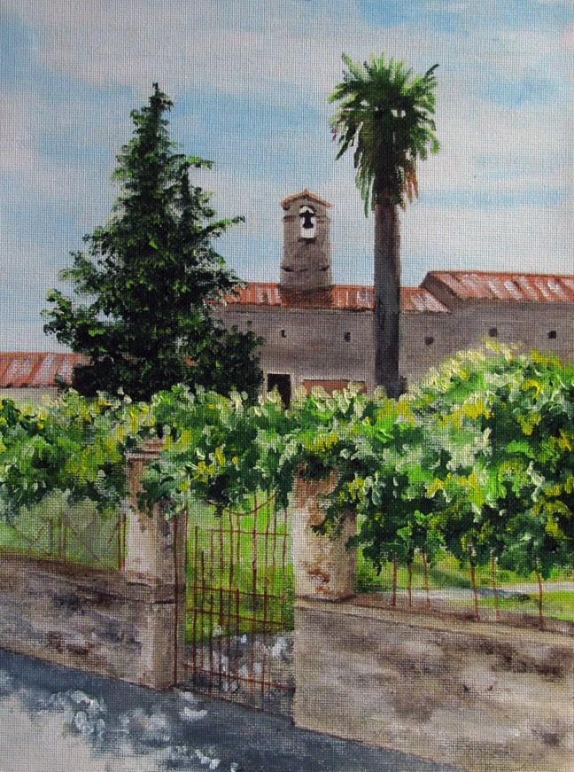 """""""Bell Between 2 Trees"""" original fine art by Nan Johnson"""