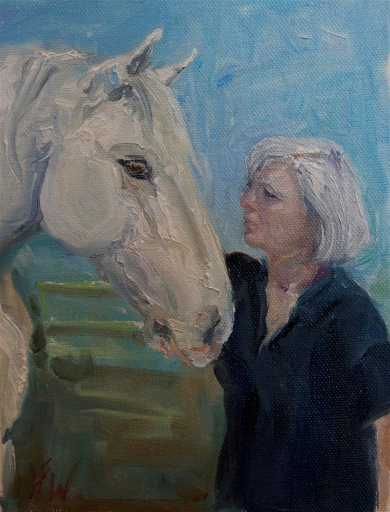 """Mom and Her Favorite Horse"" original fine art by H.F. Wallen"