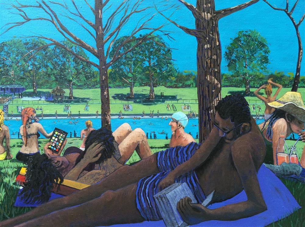 """Barton Springs Pool"" original fine art by Darryl Freeman"