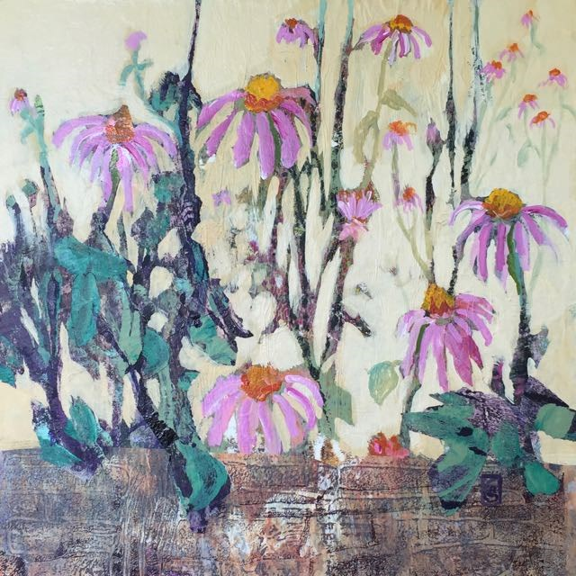 """Coneflowers and Stone Wall"" original fine art by Lucinda Howe"