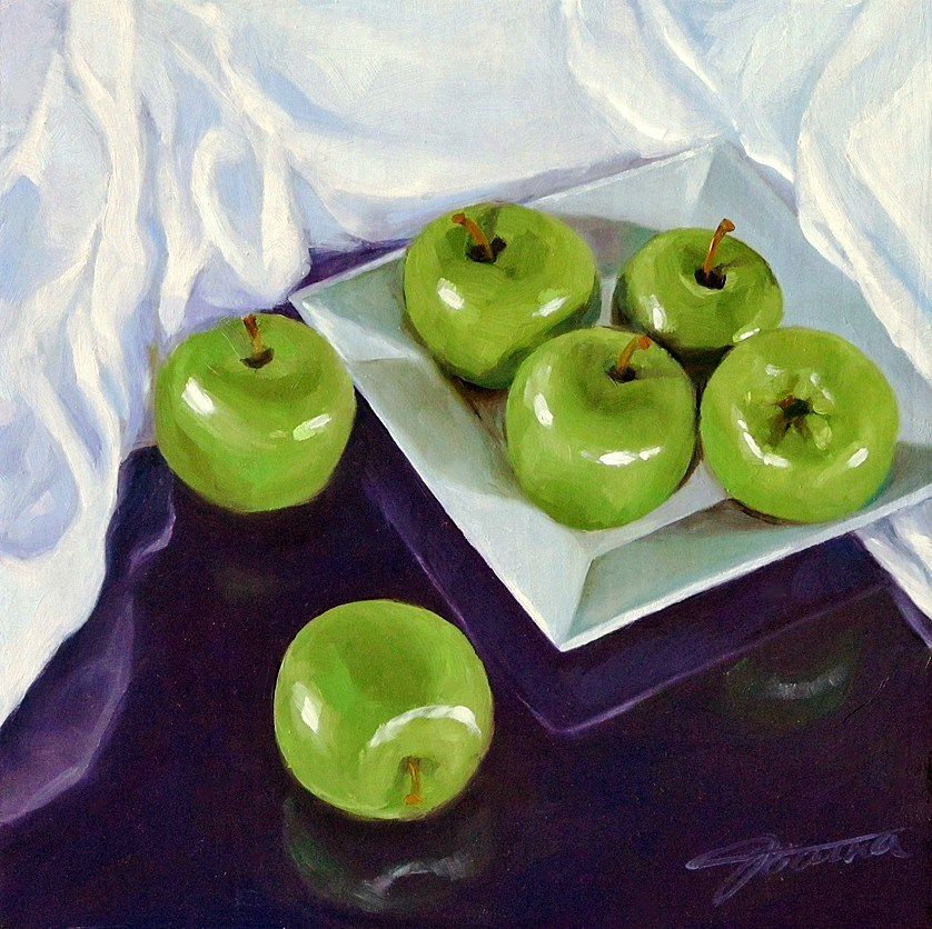 """Green Apples on the Square Plate"" original fine art by Joanna Bingham"