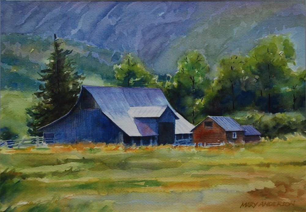 """Hillside Farm"" original fine art by Mary Anderson"