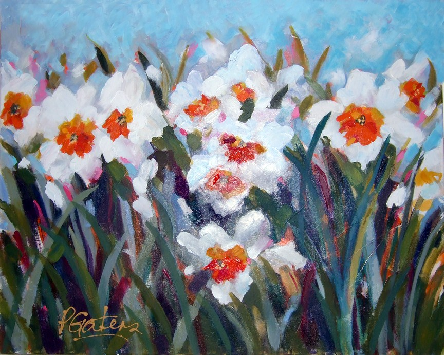 """White Daffodils"" original fine art by Pamela Gatens"