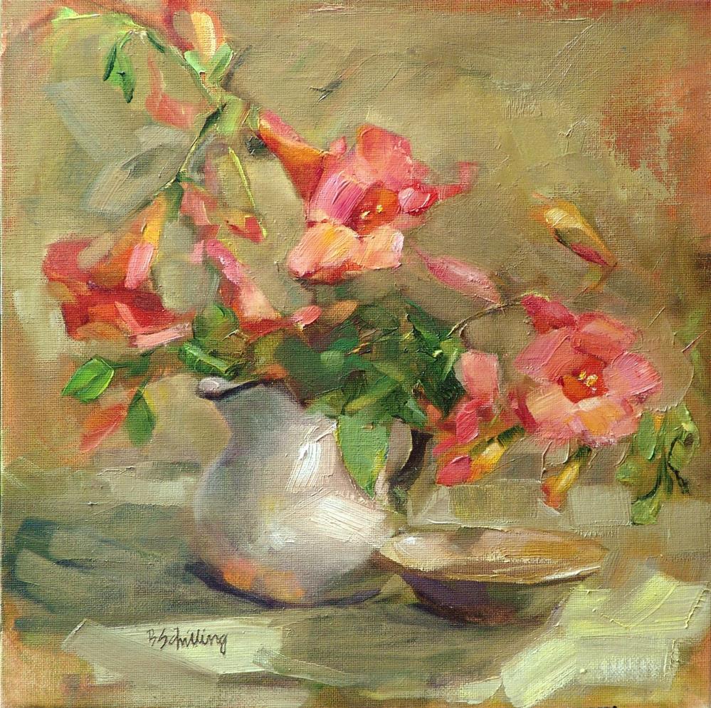 """Orange Trumpets"" original fine art by Barbara Schilling"