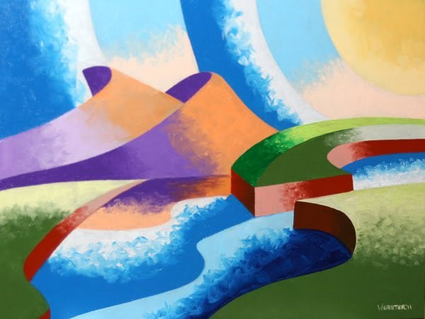 """Mark Webster - Ice Cream Sunset - Abstract Geometric Landscape Oil Painting"" original fine art by Mark Webster"
