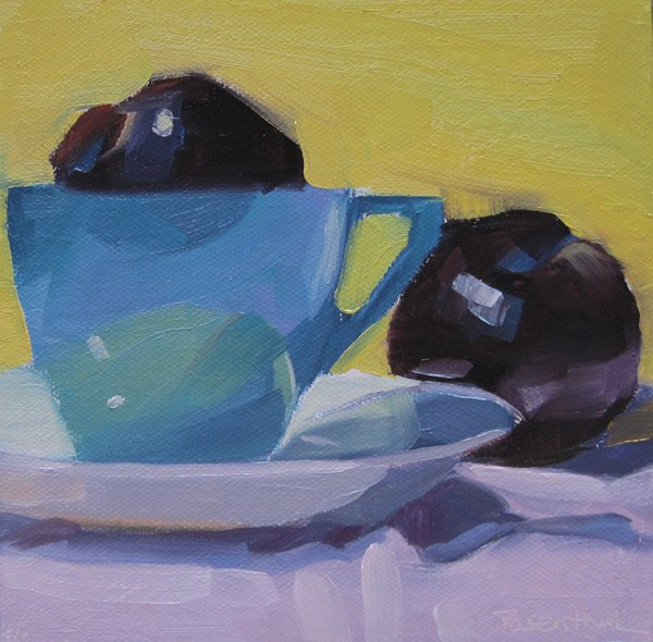 """Blue Cup and Plums"" original fine art by Robin Rosenthal"