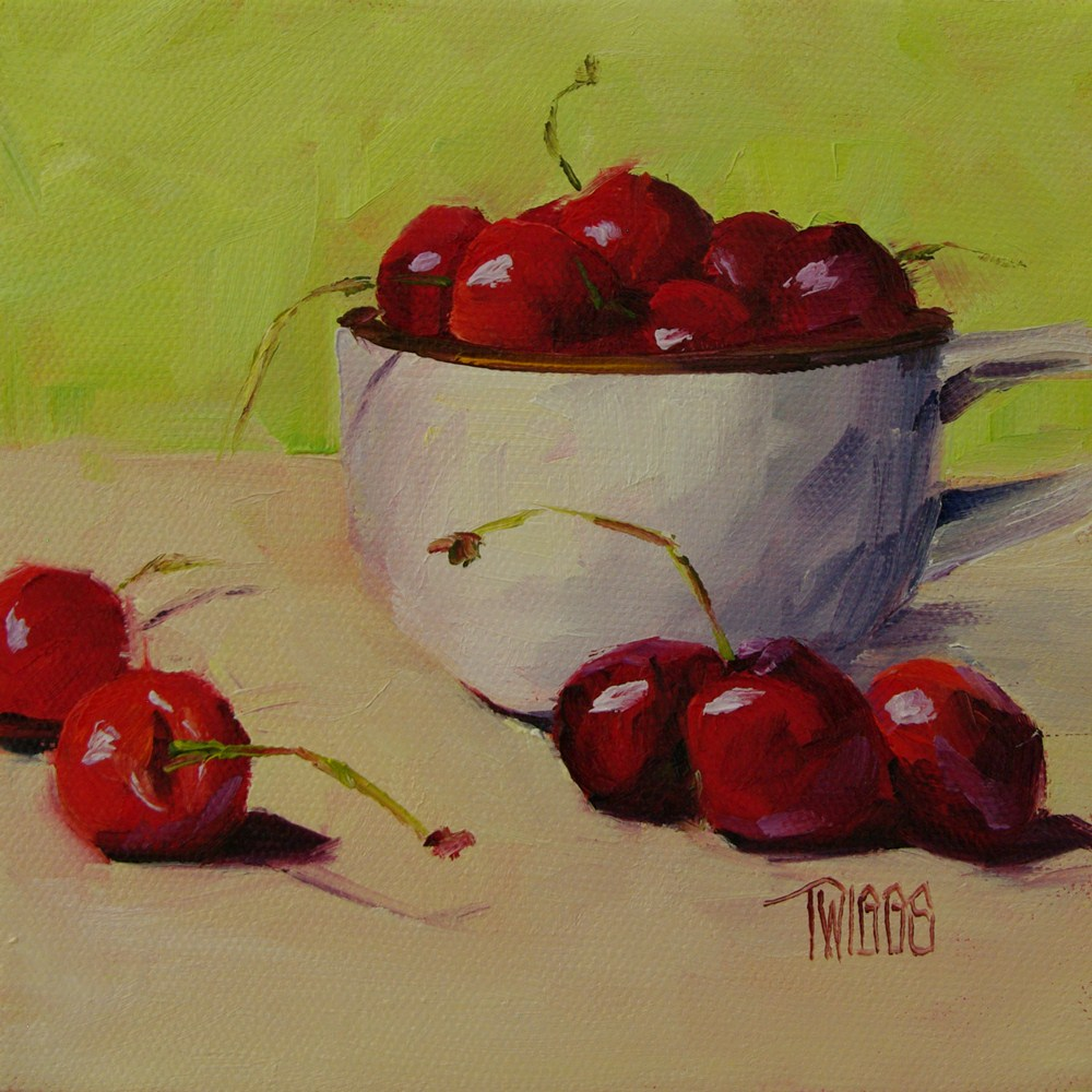 """Cup O' Cherries"" original fine art by Lori Twiggs"