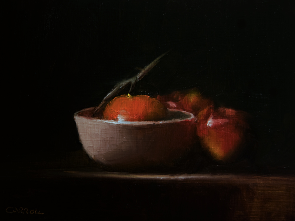 """Clementine in Bowl with Apples"" original fine art by Neil Carroll"