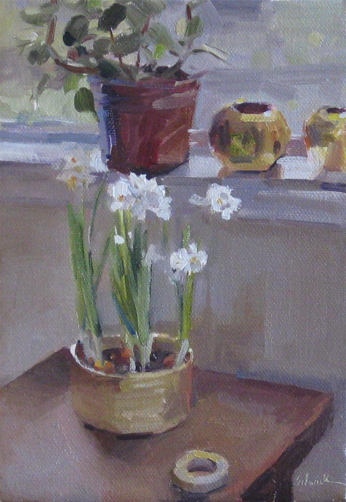 """Paperwhites by the Window floral painting interior scene flowers oil on canvas"" original fine art by Sarah Sedwick"